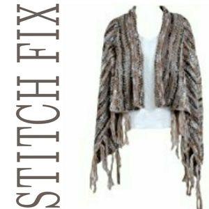 StitchFix Drapey Oversized Fringed Wool Cardigan